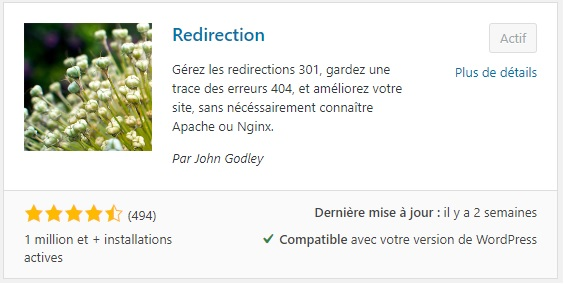 "Extention ""Redirection"" pour WordPress"